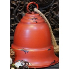Red Distressed Metal Bell Large