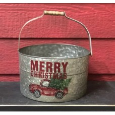 "Merry Christmas Tree Bucket with Handle 12"" x 10"""