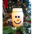 """Snowman LED Keeping Jar Candle with Timer 5.25"""""""